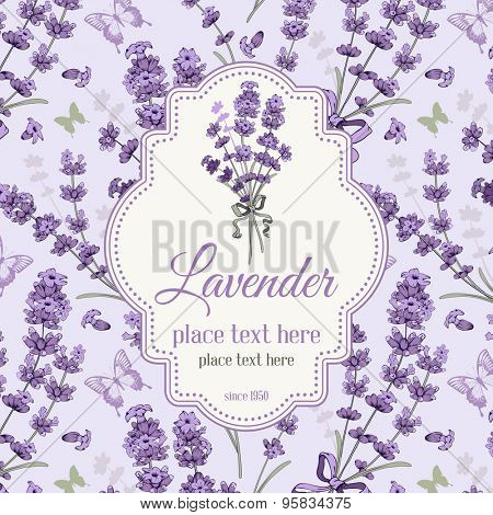 Vintage background, packaging or wrapping with hand drawn floral elements in engraving style - fragrant lavender. Vector illustration.