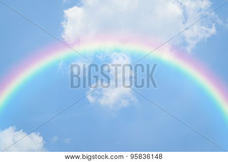 Blue Sky Heart With Rainbow