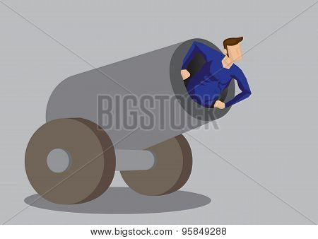 Human Cannonball Vector Illustration