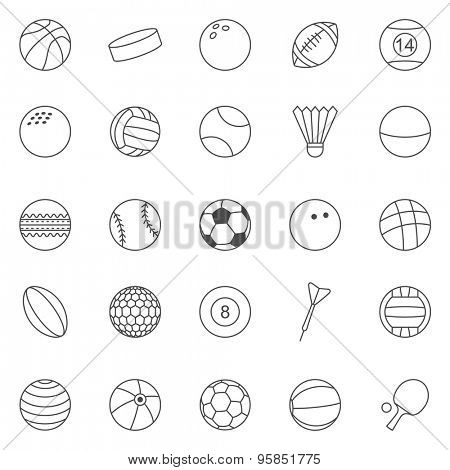 Sport Ball line icons set.Vector