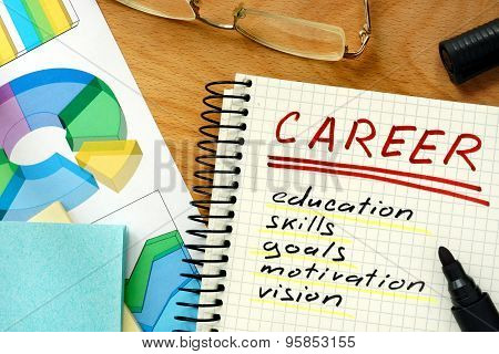 Note with words career.