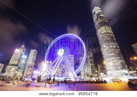 Skycrapers and ferris wheel in Hong Kong