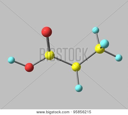 Propionic acid molecule isolated on grey