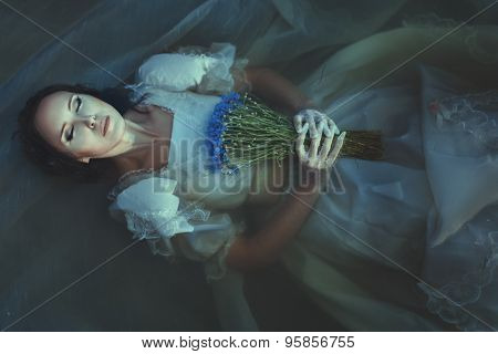 Girl Is Drowned Under Water.