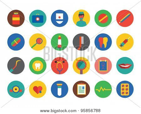 Medical Icons Set. Health and hospital symbols. Stock illustration. Interface elements..