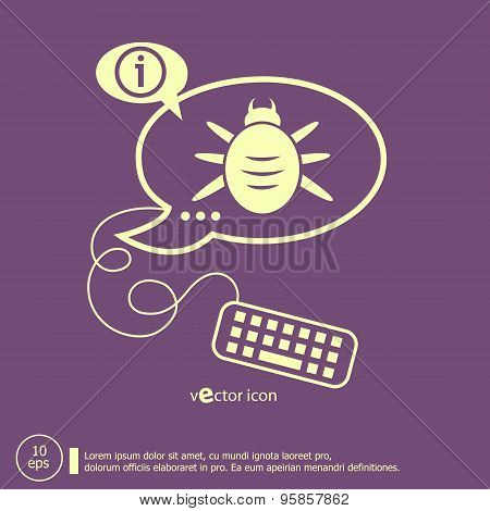 Bug Icon And Keyboard Design Elements
