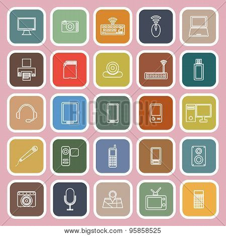 Gadget Line Flat Icons On Pink Background