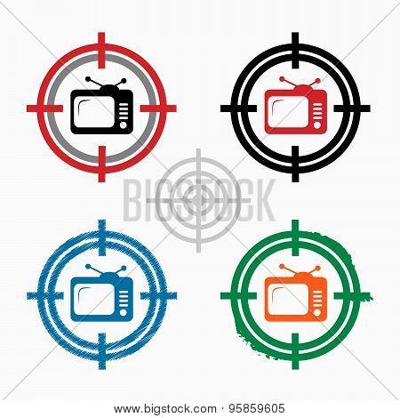 Televisor On Target Icons Background