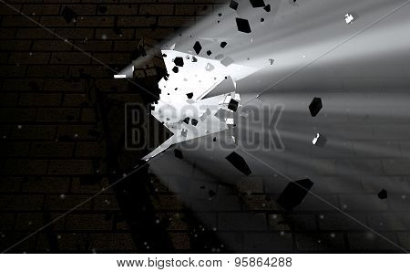 Wall Break Through And Light