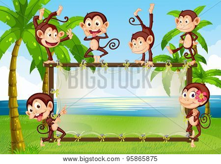 Monkeys doing funny actions on a wooden frame