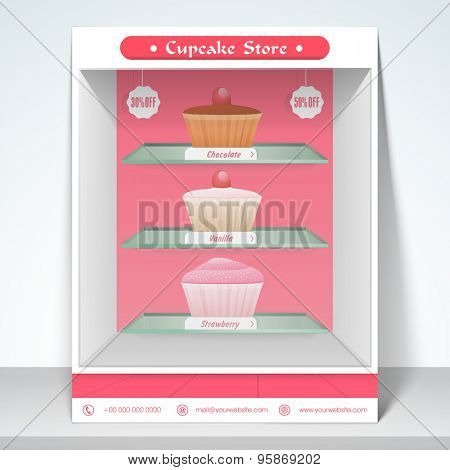 Stylish menu for discount of cup cake with mailer.