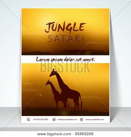 Stylish flyer for tourism with jungle safari and mailer.