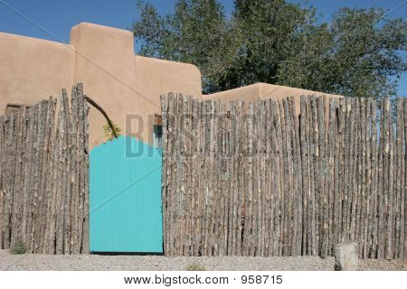 Turquoise Gate With Fence