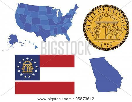 Vector Illustration of state Georgia,contains: High detailed map of USA High detailed flag of state Georgia High detailed great seal of state Georgia State Georgia, shape