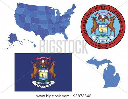 Vector Illustration of Michigan state, contains: High detailed map of USA High detailed flag of state Michigan High detailed great seal of state Michigan State Michiga, shape