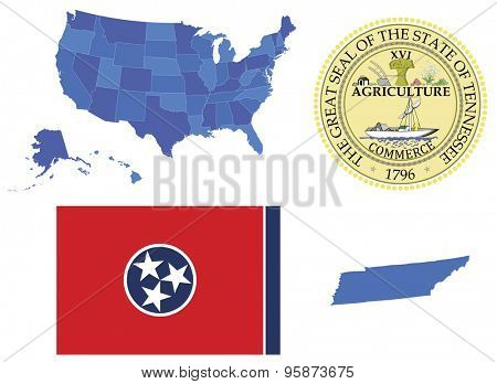 Vector Illustrator of Tennessee state,contains: High detailed map of USA High detailed flag of state Tennessee High detailed great seal of state Tennessee State Tennessee,shape