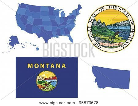Vector Illustration of state Montana, contains: High detailed map of USA High detailed flag of state Montana High detailed great seal of state Montana State Montana, shape