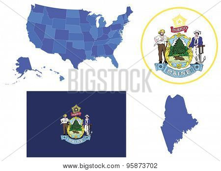 Vector Illustration of state Maine, contains: High detailed map of USA High detailed flag of state Maine High detailed great seal of state Maine State Maine, shape