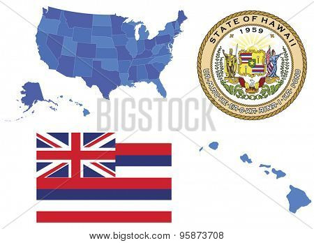 Vector Illustration of Hawaii state, contains: High detailed map of USA High detailed flag of state Hawaii High detailed great seal of state Hawaii State Hawaii,shape