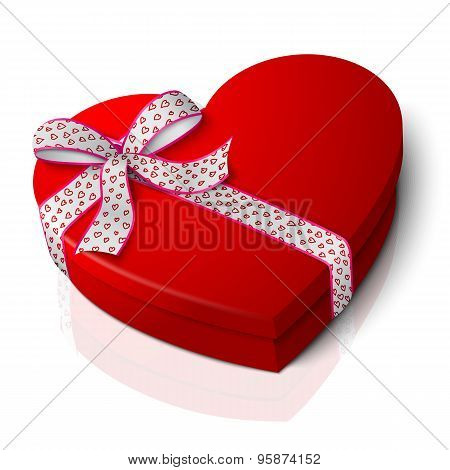 Vector realistic blank bright red heart shape box with pink and white ribbon