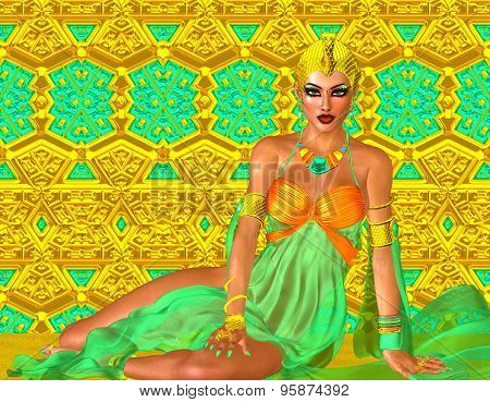 Egyptian princess in gold and emerald green with beautiful fashion cosmetics, make up and gold crown
