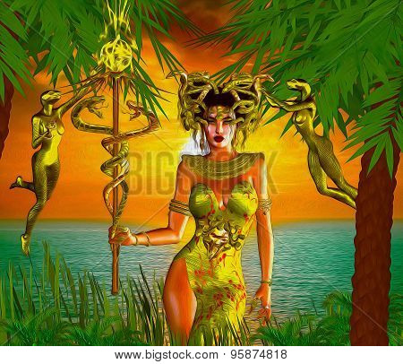 Snake Goddess. A magical, fantasy snake goddess stands in front of the sea with the setting Sun in t