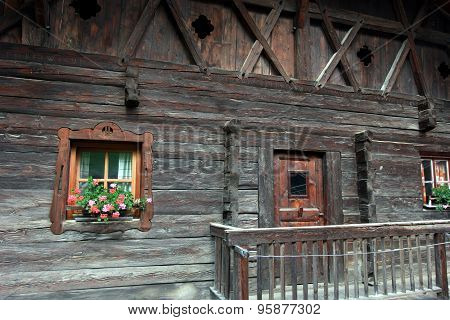 wood house exterior window macro