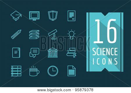 Education vector icons set. Science, students or school and college symbol. Stock design elements