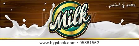 Milk Label Design Banner With Wood - Vector