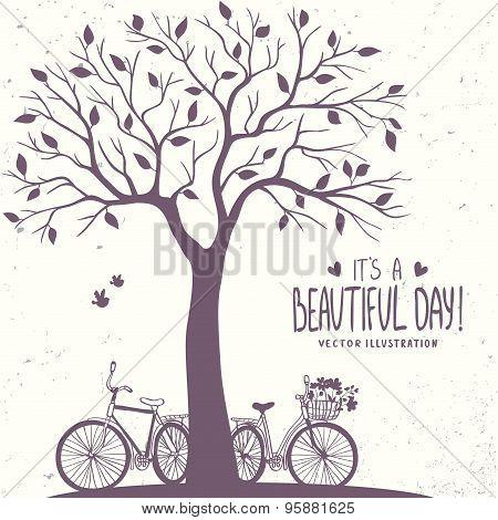 tree and bikes