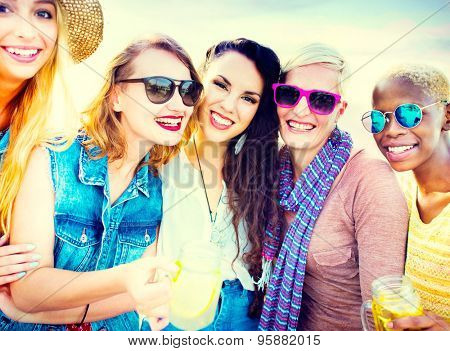 Diverse Beach Summer Girls Friends Bonding Concept