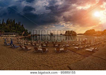 Parga City Beach sunset before thunder in Greece