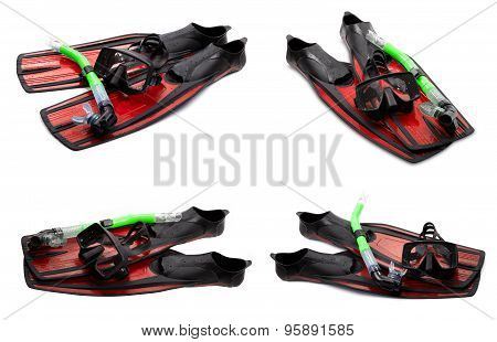 Set Of Red Swim Fins, Mask And Snorkel For Diving On White Background
