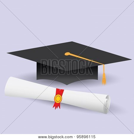 Flat Design Modern Vector Illustration Of Graduation Cap And Diploma