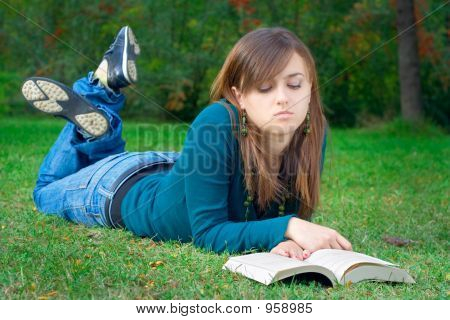 Student Reading A Book In The Park