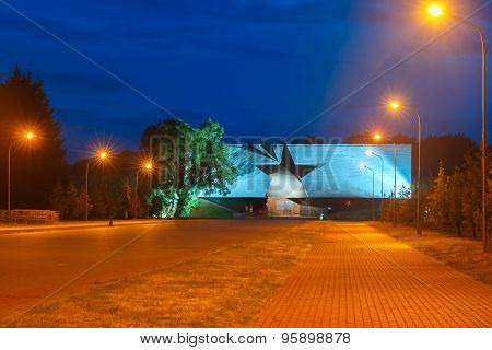 Entrance to Brest fortress at night, Belarus