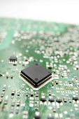 Chip close up on a integrated circuit. poster