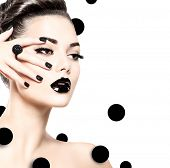 Beauty Fashion Model Girl with Black Make up, Long Lushes. Fashion Trendy Caviar Black Manicure. Nail Art. Dark Lipstick and Nail Polish. Isolated on white background poster