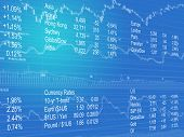 Financial and stock market data in blue poster