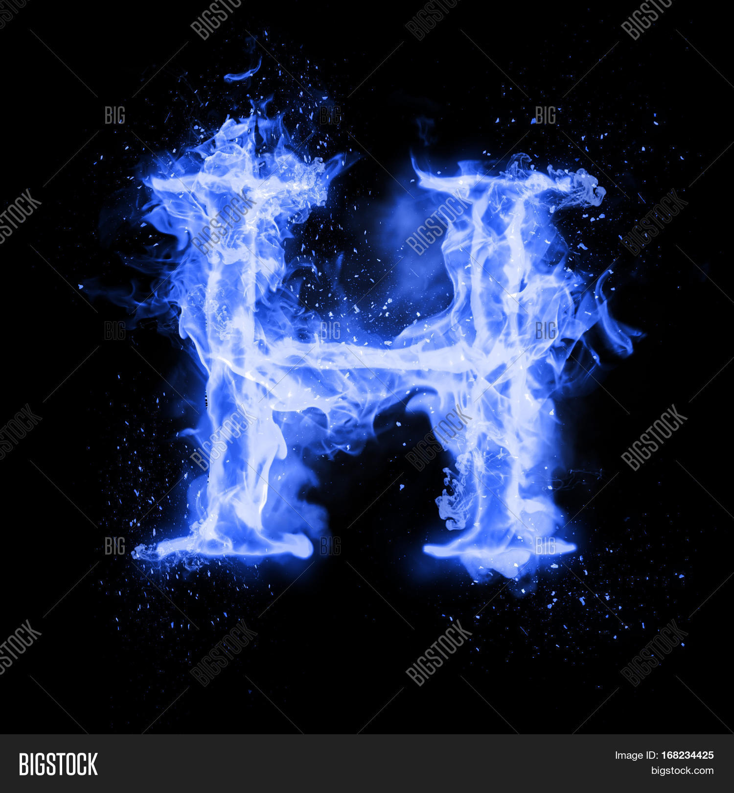 Fire Font: Letter H On A Dark Background Stock Photo, Picture And ...