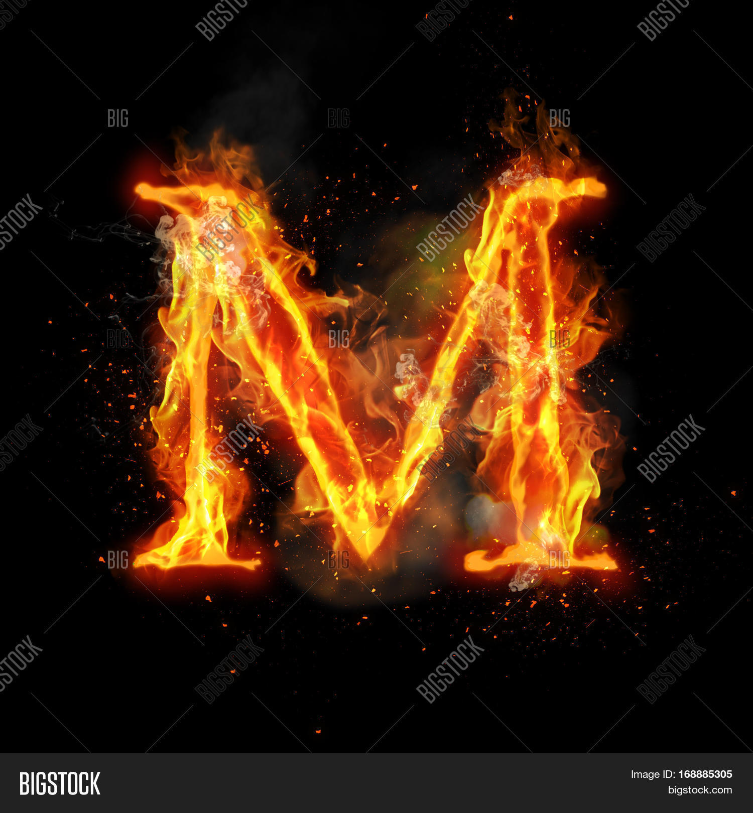 Fire Letter M Burning Image & Photo (Free Trial) | Bigstock