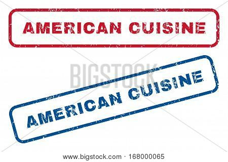 American Cuisine text rubber seal stamp watermarks. Vector style is blue and red ink caption inside rounded rectangular shape. Grunge design and dust texture. Blue and red signs.