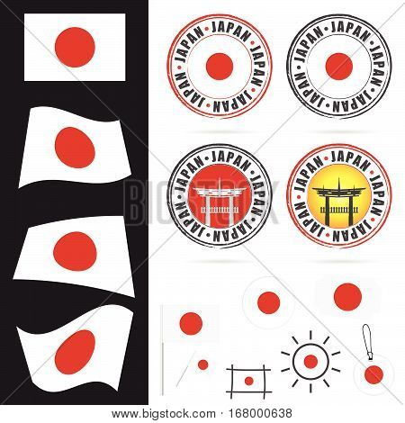 Japan Flag With Icon And Grunge Rubber Design Illustration