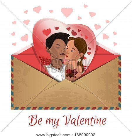 Photo with kissing couple in the envelope. Be my Valentine. Romantic design. Vector illustration