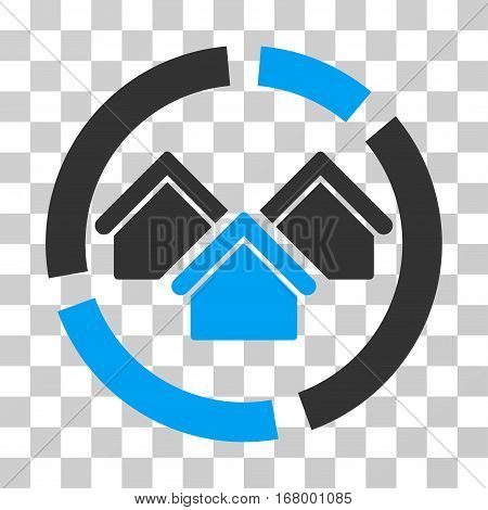 Realty Diagram icon. Vector illustration style is flat iconic bicolor symbol, blue and gray colors, transparent background. Designed for web and software interfaces.