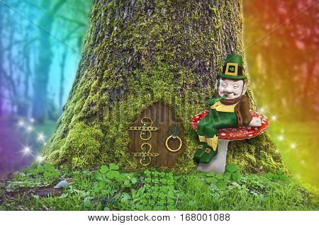 Leprechaun sitting on a mushroom in front of a tree with a fairy door, rainbow and fairy sparks of light