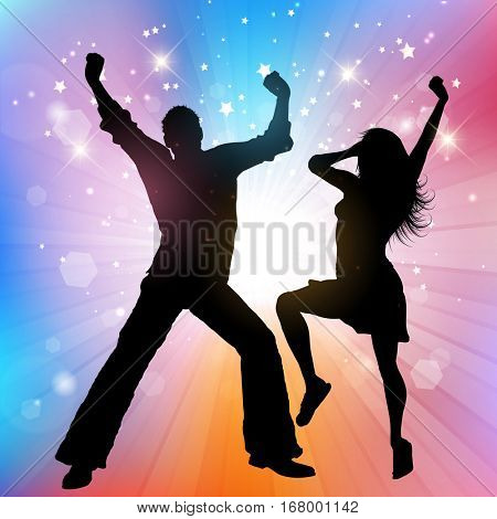 Silhouette of a couple dancing on a starburst background