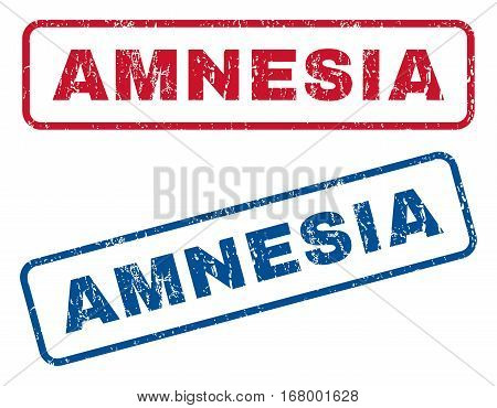 Amnesia text rubber seal stamp watermarks. Vector style is blue and red ink tag inside rounded rectangular banner. Grunge design and dirty texture. Blue and red emblems.