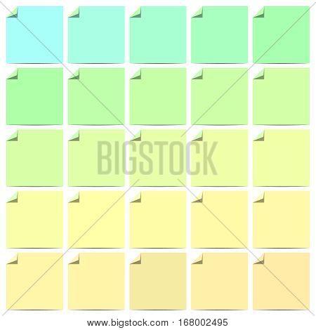 Set of color blank flat labels with curled corner. Folded label corner. Vector illustration set.