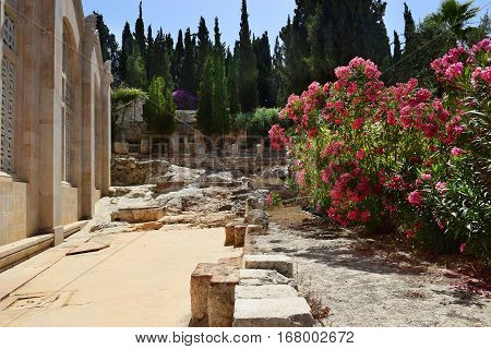 ancient excavations near the walls of the Church of all Nations, Mount of Olives, Garden of Gethsemane in Jerusalem, Israel